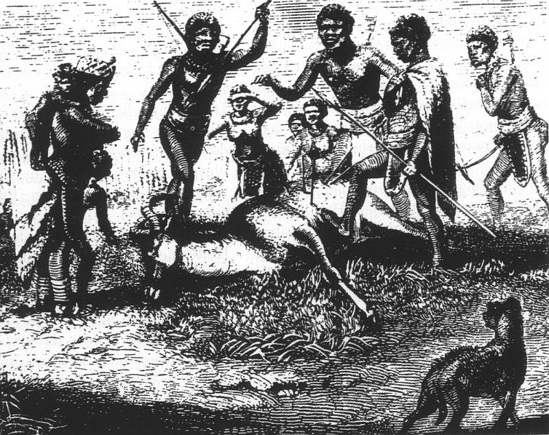 """Koloniale Darstellung von """"Hottentotten"""" auf der Jagd (1857)"""